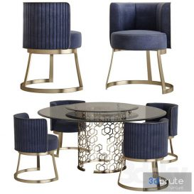 Longhi manfred table round crystal table 3d model Download  Buy 3dbrute