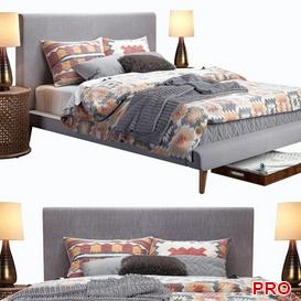 Mod Upholstered Feather Grey Bed b184 3d model Download  Buy 3dbrute