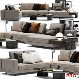 Minotti White Sofa P23 3d model Download  Buy 3dbrute