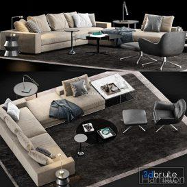 Minotti Hamilton  Sofa P25 3d model Download  Buy 3dbrute