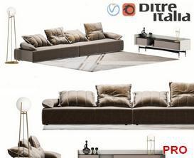 DitreItalia Flick Flack Sofa P28 3d model Download  Buy 3dbrute
