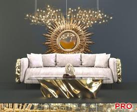 golden Sofa P139 3d model Download  Buy 3dbrute