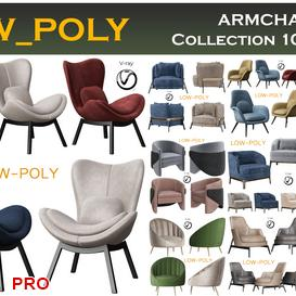 ARMCHAIR Collection 10 Pieces 3d model Download  Buy 3dbrute