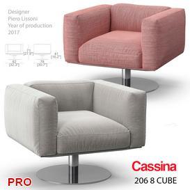 Cassina 206 8 Cube armchair 3d model Download  Buy 3dbrute