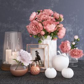 Decorative set with peonies 3d model Download  Buy 3dbrute
