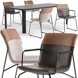 Leolux Ditte chair set 3d model Download  Buy 3dbrute