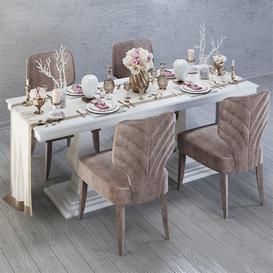 Dining group 3d model Download  Buy 3dbrute