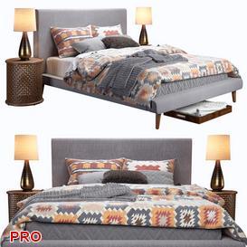 West Elm Mod Upholstered Bed 3d model Download  Buy 3dbrute