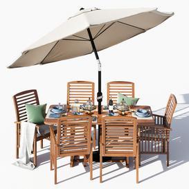 Brown Acacia 7  Piece Dining Set 3d model Download  Buy 3dbrute