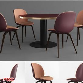 GUBI set Dining  Table Set 24 3d model Download  Buy 3dbrute