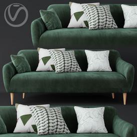 Macy Green Velvet Sofa 3d model Download  Buy 3dbrute