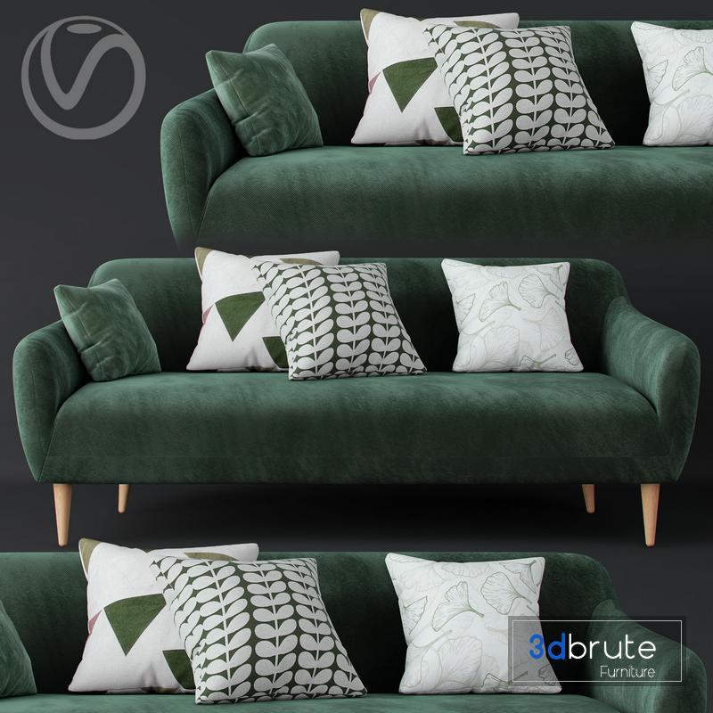 Macy Green Velvet Sofa Model