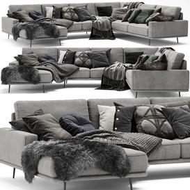 Scandinavian Set   BoConcept Carlton Sofa 3d model Download  Buy 3dbrute