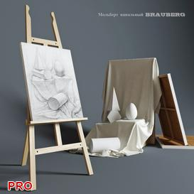 Easel outdoor BRAUBERG with a still life of plaster figures 3d model Download  Buy 3dbrute