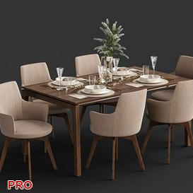 Venjakob Alexia Chair with Dining Table ET388 7 3d model Download  Buy 3dbrute