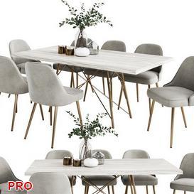 WEST ELM  Dining Set 32 3d model Download  Buy 3dbrute