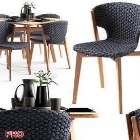 Ethimo knit Dining Set 35 3d model Download  Buy 3dbrute