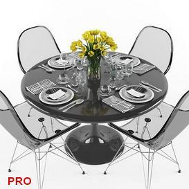 Dining  Table Set 72 3d model Download  Buy 3dbrute