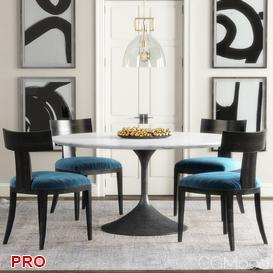 RH Klismos Dining  Table Set 32 3d model Download  Buy 3dbrute