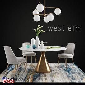 WEST ELM Dining  Table Set 33 3d model Download  Buy 3dbrute