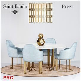 Prive  SAINT BABILA Dining  Table Set 39 3d model Download  Buy 3dbrute