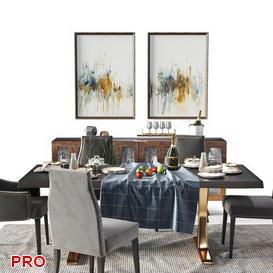 Divane inspiration Dining Set 42 3d model Download  Buy 3dbrute