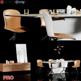 milano five adelaide lugano Dining Set 40 3d model Download  Buy 3dbrute