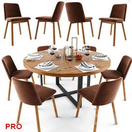 Dining  Table Set 80 3d model Download  Buy 3dbrute