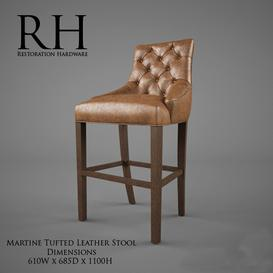 Restoration Hardware  Martine Tufted Leather Stool 3d model Download  Buy 3dbrute