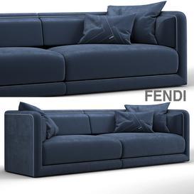 Fendi Casa Conrad Maxi Sofa Blue 3d model Download  Buy 3dbrute