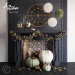 Autumn Decor Set 3d model Download  Buy 3dbrute