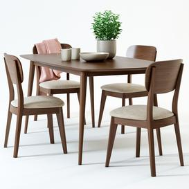 Scandinavian Designs Juneau Dining Table   Juneau Dining Chair 3d model Download  Buy 3dbrute