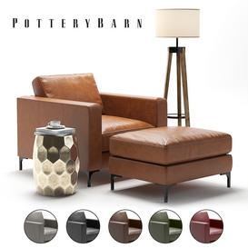 Pottery Barn Jake Armchair 3d model Download  Buy 3dbrute