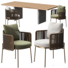 Tape chair Quadrado table by Minotti 3d model Download  Buy 3dbrute