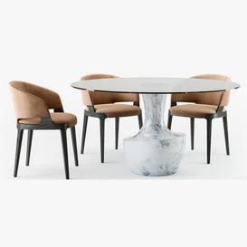 Potocco Velis armchair Anfora table 3d model Download  Buy 3dbrute
