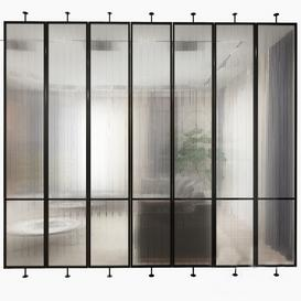 Swivel metal partition with frosted corrugated glass 3d model Download  Buy 3dbrute