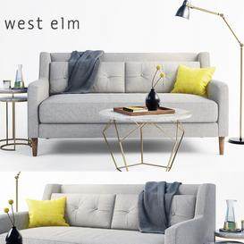 west elm sofa set 3d model Download  Buy 3dbrute
