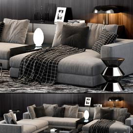 Minotti Hamilton Sofa 3d model Download  Buy 3dbrute
