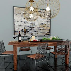 Crate & Barrel Dining Room 3d model Download  Buy 3dbrute