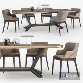 Cattelan Italia Planer table Magda armchair set01
