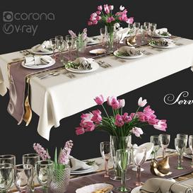 Table setting with flowers 3d model Download  Buy 3dbrute