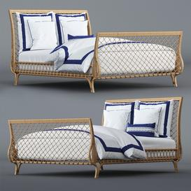 Avalon Bed and Beach Club Border Bedding Set 3d model Download  Buy 3dbrute