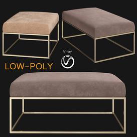 Box Frame Upholstered Bench & Ottoman Westelm 3d model Download  Buy 3dbrute