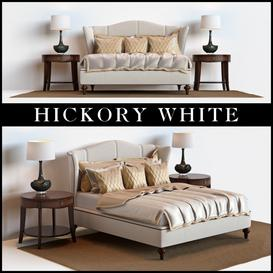 Hickory White King Upholstered Bed  Barbara Barry Skirted End Table 3d model Download  Buy 3dbrute