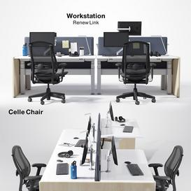 Renew Link Workstation & Celle chair 3d model Download  Buy 3dbrute