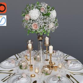 Wedding table setting 1 3d model Download  Buy 3dbrute