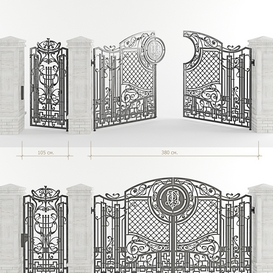 Forged gate with a gate and pillars LT 3d model Download  Buy 3dbrute