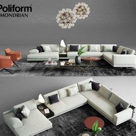 Poliform Mondrian Sofa 1 3d model Download  Buy 3dbrute