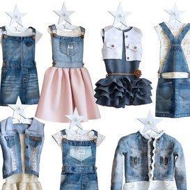Jeans dresses for a little princesse 3d model Download  Buy 3dbrute