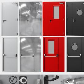 Metal fire doors- 4 colors 3d model Download  Buy 3dbrute